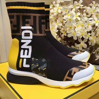 Fendi Trending Women Black Leather Side Zip Lace-up Ankle Boots Shoes High Boots