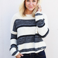 Divided Striped Sweater {Navy/Cream}