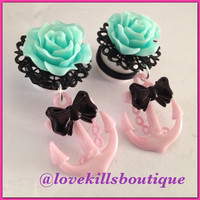 Teal Rose Pink anchor Bow rockabilly Psychobilly Pinup Scene fashion earrings Fake plugs