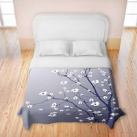 Duvet Cover Brushed Twill Twin, Queen, King SETs from DiaNoche Designs by Monika Strigel Unique Home Decor and Designer Bedding Ideas - Blooming Tree Blue Grey