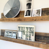 Two 30-inch Rustic Wall-mounted Wood Shelves // Upcycled Recycled Repurposed Home Decor