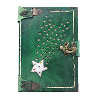 Engraved Shooting Star On A Large Green Leather Journal / Notebook / Diary / Sketchbook / Leatherbound