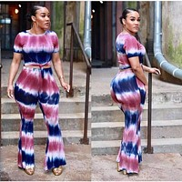 fhotwinter19 hot style hot sale fashion printed short-sleeved trousers two-piece suit