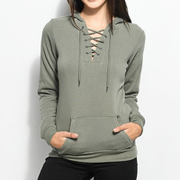Empyre Irma Olive Lace up Hoodie | Zumiez
