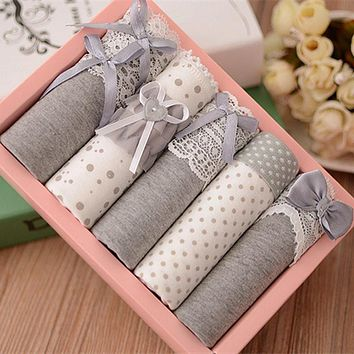 5 Pcs Women Briefs Panties Gift Box Combination Cotton Underwear Bowknot Lady's Lovely Underwear Panty