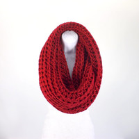 Large Chunky Infinity Scarf /CRANBERRY/, Unisex Chunky Scarf, Men Woman Loop Scarf, Gift Idea