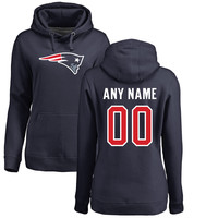 Women's New England Patriots Pro Line Navy Any Name & Number Logo Personalized Pullover Hoodie
