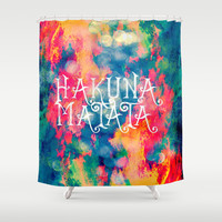 Hakuna Matata Painted Clouds Shower Curtain by Caleb Troy