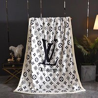LV Louis Vuitton DIOR Hot Sale Full Printed Retro Blanket D Home Coral Fleece Thickening Blanket Adult Single Bed Blanket