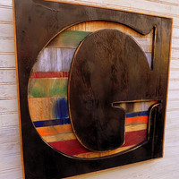 """Large 20"""" Bold Times New Roman Letter """"G"""" Shadow Box Initial -  Rustic Wooden A B C D E F G H I  J K L M N O P Q R S T U V W X Y Z Farmhouse"""