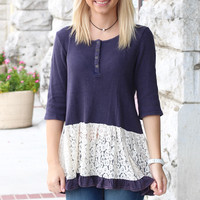 Mineral Wash Lace Inset Babydoll Top {Navy}