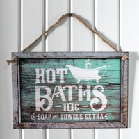 """""""Hot Baths"""" 12""""x8"""" Decorative Bathroom Sign - Weathered Vintage Western Design- 3mm Flat Printed Plastic (not real wood) with Rope Hanger"""
