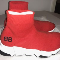 Auth Balenciaga Speed Sock High Men's Trainers Red size 7 /40 Receipt