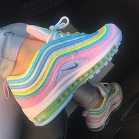 Nike Air Max 97 Hot Sale Women Casual Rainbow Running Sport Shoes Sneakers