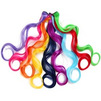 Rainbow Body Wave Long Synthetic Hair Clip-in Pieces