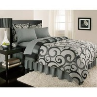 Gray Swirl Stripe Contemporary Full Comforter Set (8pc Bed in a Bag)