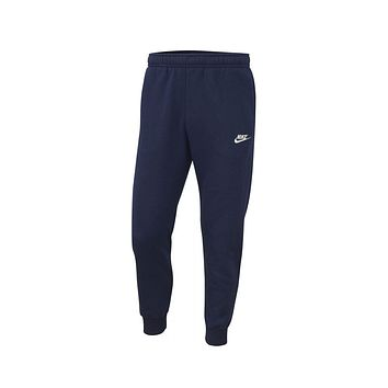 Nike Men's Sportswear NSW Club Fleece Joggers Sweat Pants Midnight Navy White
