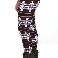 Indigo Girls Patterned Leggings with Plum, Lilac and White Geometric Print