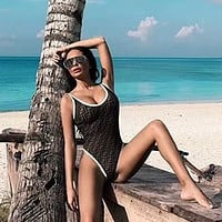 FENDI Hot Sale Stylish Women Sexy Print Vest Type One Piece Bikini Swimsuit Bathing Bodysuit