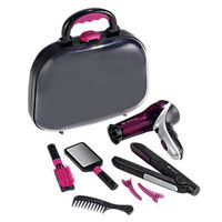 Play Hair Salon with Toy Hairdryer and Flat Iron