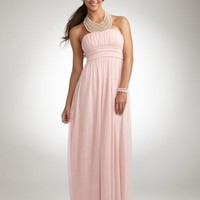 Pearl Jeweled Necklace Halter Mesh Gown - Davids Bridal