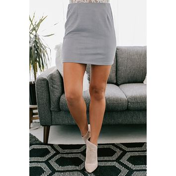 City Nights Faux Suede Mini Skirt (Misty Blue)