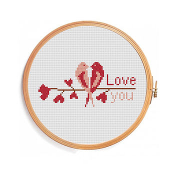 Love Birds - Cross Stitch Pattern - LOVE YOU - Valentines Day (Easy Pattern)