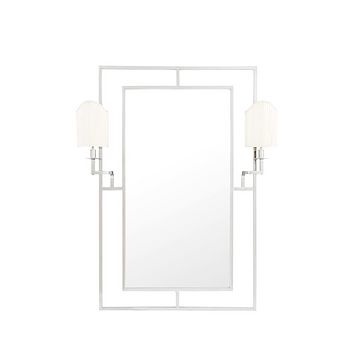 Silver Mirror With 2 Lamps   Eichholtz Astaire