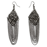 Black Plated Chain Drop Fashion Earrings