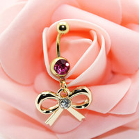 Belly button ring,Bow belly ring,Bellybutton jewelry,Body piercing,Friendship belly ring