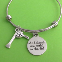 Hair dryer, She believed, she could.. so she did, Silver, Bangle, Necklace, Keychain, Birthday, Lovers, Friends, Sister, Gift
