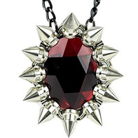 Large Red Stone Necklace with Chaos Star Spikes