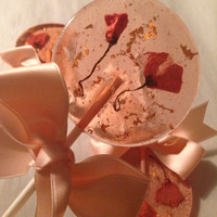 3 Natural cherry flavored lollipops with imported cherry blossom flowers and edible 24k gold leaf flakes