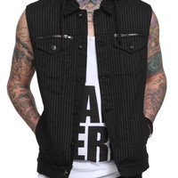 RUDE Black Grey Stripe Hooded Vest | Hot Topic