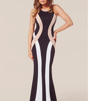 Multi Color Sleeveless Bodycon Fishtail Dress