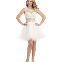 Preorder -  Off White Two Piece Lace & Chiffon Dress 2015 Homecoming Dresses