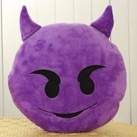 LILI123 32cm Emoji Smiley Emoticon Purple Round Cushion Pillow Stuffed Plush Soft Toy
