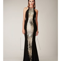 Black Sequin Open Back Sheath Dress