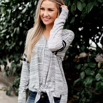 Heathered Button Down Knot Top