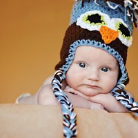 Crochet Infant Owl Ear Flap Hat New.. on Luulla