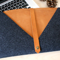 13 Inch MacBook Air Sleeve, Laptop Case and Cover - Anthracite Wool Felt and Cognac Brown Leather
