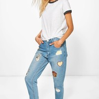 Hatty High Rise Boyfriend Jeans With Badges