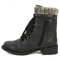 Qupid Relax-120 Black Sweater Cuff Ankle Boots   MakeMeChic.com