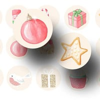 Christmas bottle cap images - Pink Christmas digital collage sheet - Christmas 1 inch circles - Magnets - Key chains - Stickers