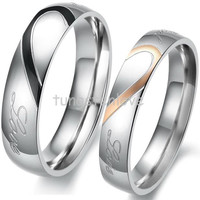"""1 piece Lovers Matching Heart 316L Stainless Steel Wedding Rings For Men Women Promise Rings """"Real Love"""" Couples Rings"""