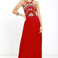 All My Life Red Embroidered Maxi Dress