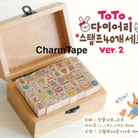 Toto Rabbit Diary Cute Stamp Set (1 wooden box, 40stamps)
