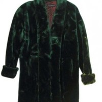 Vtg. Dark Faux Mink Fur Long Shawl Fur Coat 71% off retail