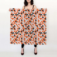 Mid Century Geometric Silk Scarf / Autumn Fashion Silk Scarf / Coral Peach Black White Scarf / Modern Silk Scarf / Bloom Bloom Wear