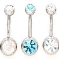 Lot of 5 New Double Jeweled Gemmed Belly Navel Body Jewelry Piercing Bar Ring Rings 14g